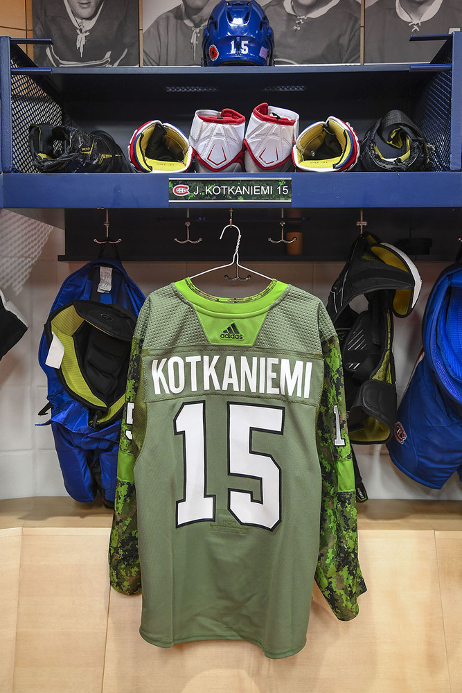 #15 Jesperi Kotkaniemi Warm-Up Worn and Autographed Military Jersey
