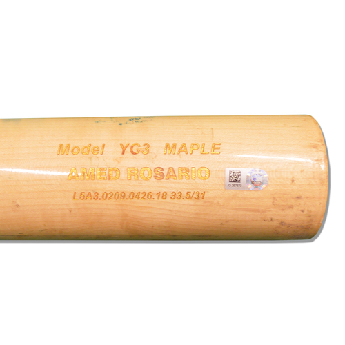 Photo of Amed Rosario #1 - Game Used Cracked Beige Chandler Bat with Blue and White Lizard Skin - Mets vs. Phillies - 7/11/18