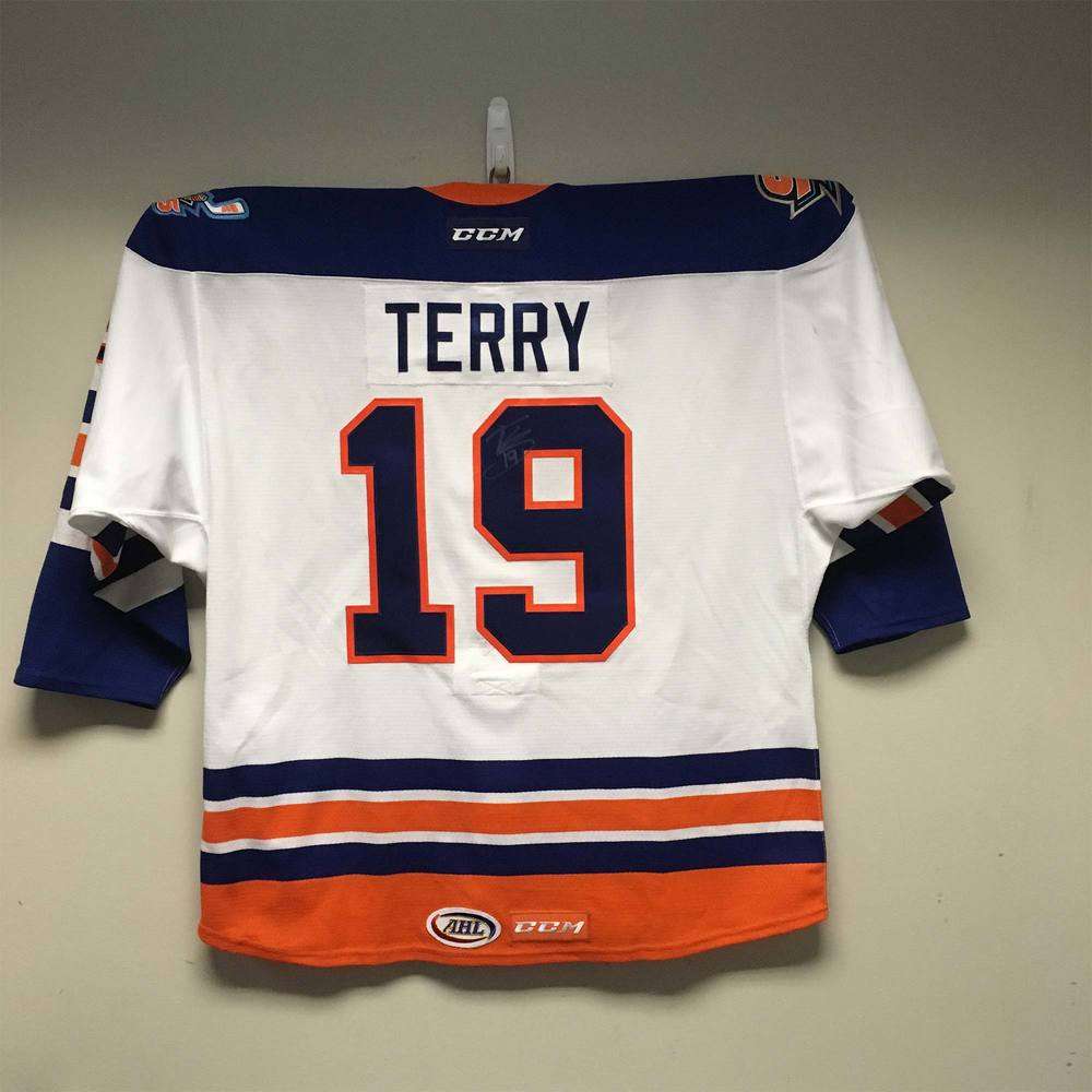 San Diego Gulls Willie O'Ree Warm-Up Jersey worn and signed by #19 Troy Terry