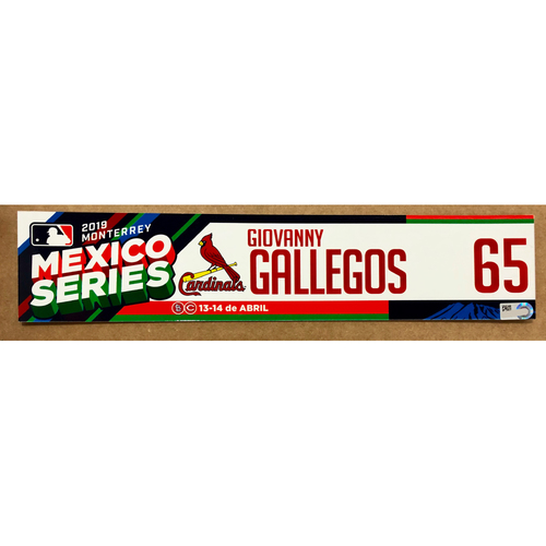 Photo of 2019 Mexico Series - Game Used Locker Tag -Giovanny Gallegos -  St. Louis Cardinals