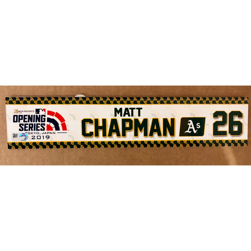 Photo of 2019 Japan Opening Day Series - Game Used Locker Tag - Matt Chapman -  Oakland Athletics