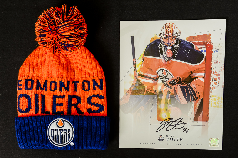 Mike Smith #41 - Autographed Edmonton Oilers Player Card And Ltd Edition Oilers Toque