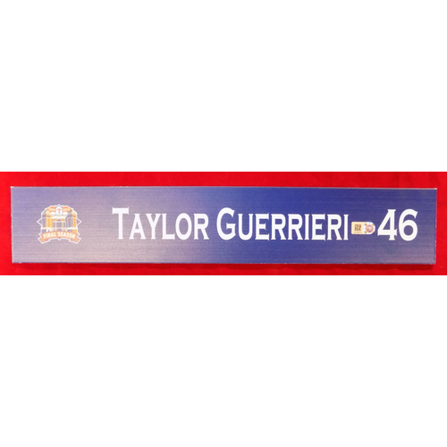 Photo of Final Season Game-Used Locker Tag - Taylor Guerrieri - 9/28/19