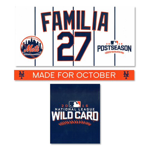 Photo of Jeurys Familia #27 - Game Used Locker Nameplate Set - Mets vs. Giants - 2016 Wild Card Game - 10/5/16