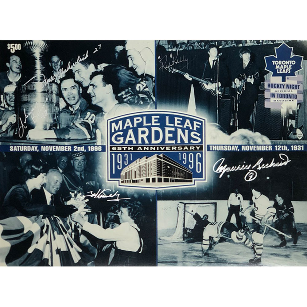 Maple Leaf Gardens Multi-Signed 65th Anniversary 10X15 Photo - M. Richard, Bower, Kelly, Kennedy & Mahovlich