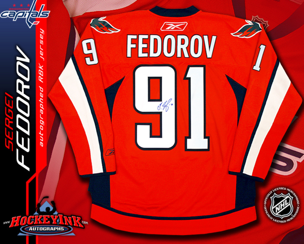 SERGEI FEDOROV Signed RBK Premier Washington Capitals Red Jersey
