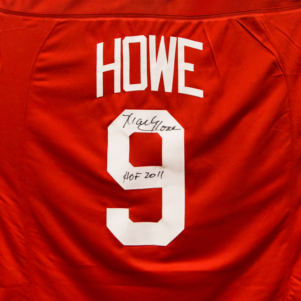 Gordie Howe Jersey from Nicklas Lidstrom Jersey Retirement Night - Signed by Mark Howe - Detroit Red Wings