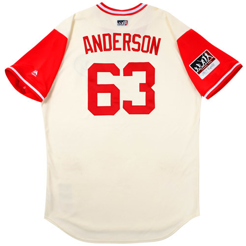 "Photo of Drew ""Anderson"" Anderson Philadelphia Phillies Game-Used Players Weekend Jersey"