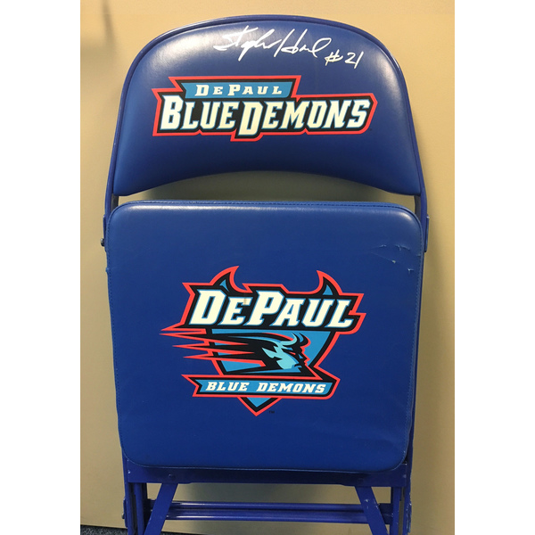Photo of Stephen Howard Autographed DePaul Basketball Team Bench Chair (A)