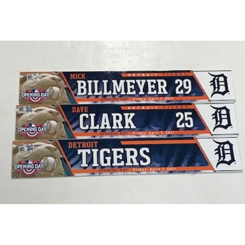 Photo of 2017 Game-Used Opening Day Locker Name Plates: Mick Billmeyer, Dave Clark and Detroit Tigers