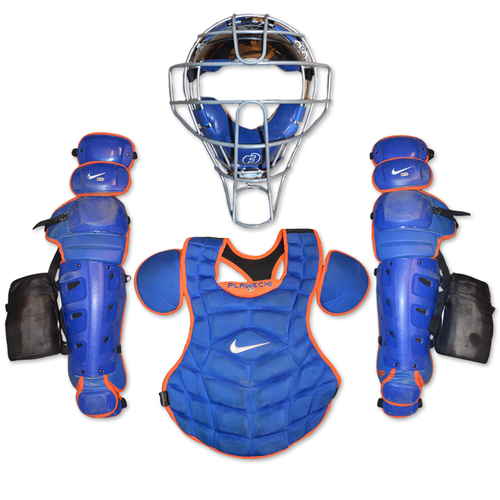 Photo of Team Issued Catcher's Gear - Blue and Orange Nike Set - Chest Protector, Shin Guards, Face Mask and Bag - 2018 Season