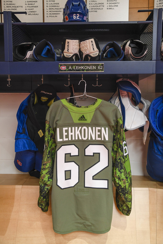 #62 Artturi Lehkonen Warm-Up Worn and Autographed Military Jersey
