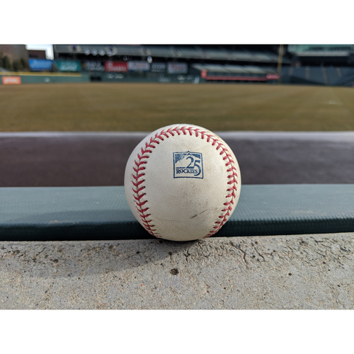 Photo of Colorado Rockies Game-Used Baseball - Oh v. Fowler - Line out to Gonzalez - July 28, 2018