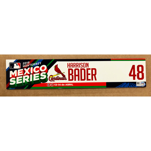 Photo of 2019 Mexico Series - Game Used Locker Tag -Harrison Bader -  St. Louis Cardinals