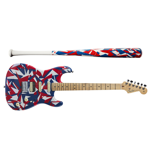 One-of-a-kind Artist-Painted Rangers Louisville Slugger Bat and Fender Stratocaster Guitar