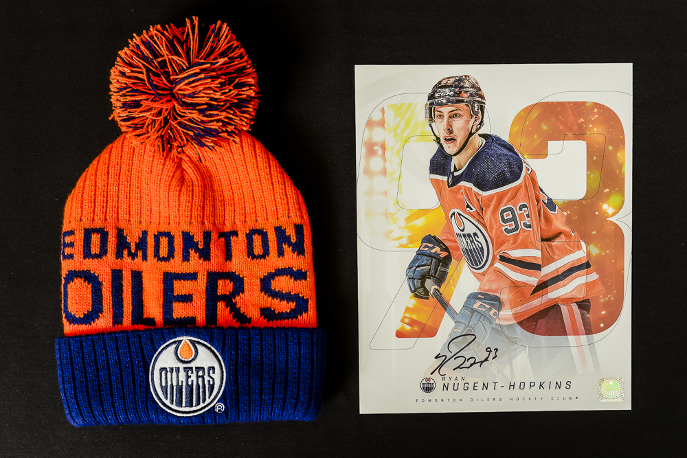 Ryan Nugent-Hopkins #93 - Autographed Edmonton Oilers Player Card And Ltd Edition Oilers Toque