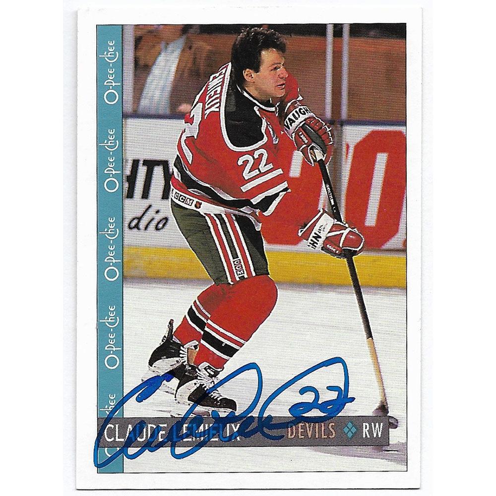 Claude Lemieux Autographed 1992 O-Pee-Chee Hockey Card