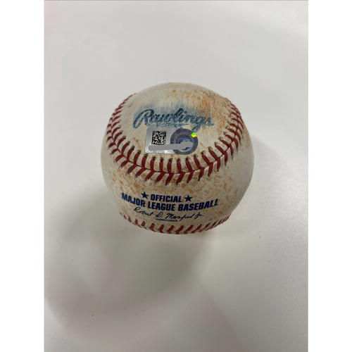 Photo of Game-Used Baseball - Nelson Cruz singles off pitcher Zach Plesac - Twins at Indians 4/26/21