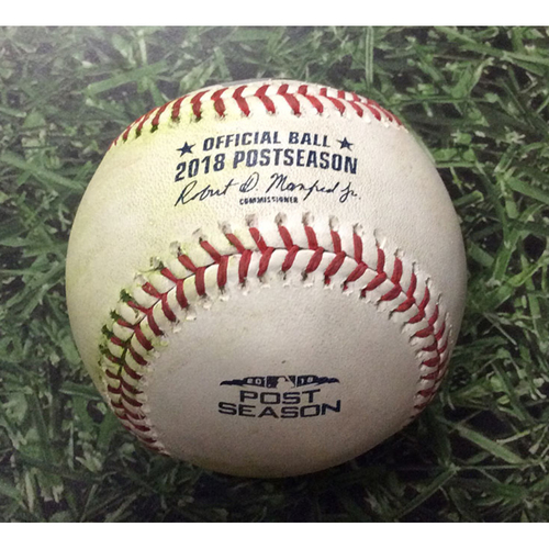 Photo of Game-Used Baseball NLDS Game 2 COL@MIL 10/05/18 - Scott Oberg - Travis Shaw: Single (Shaw's 3rd Career Postseason Hit)