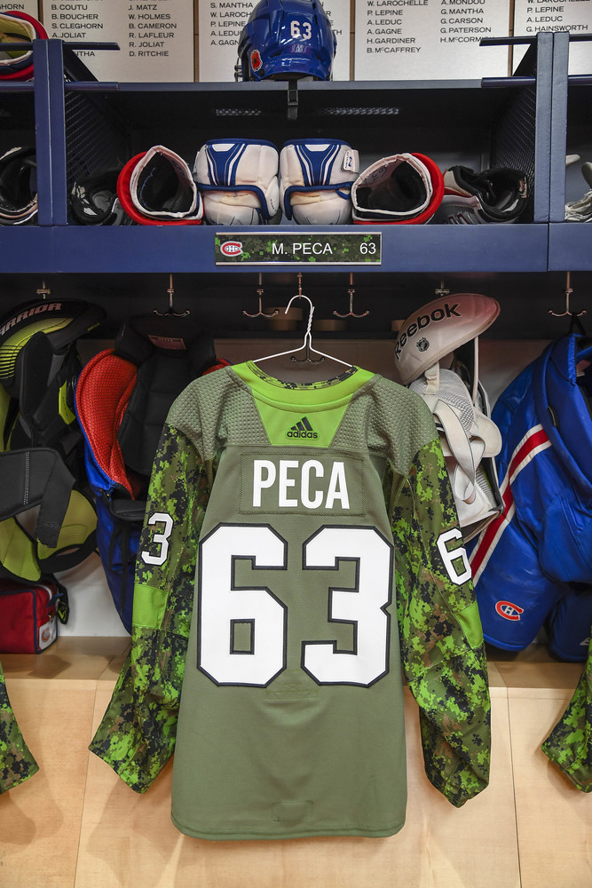 #63 Matthew Peca Warm-Up Worn and Autographed Military Jersey
