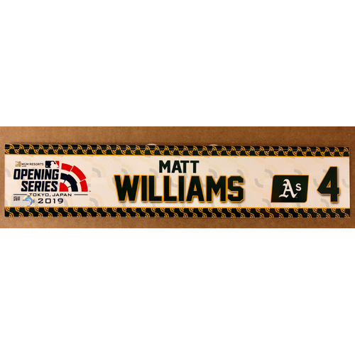 Photo of 2019 Japan Opening Day Series - Game Used Locker Tag - Matt Williams -  Oakland Athletics