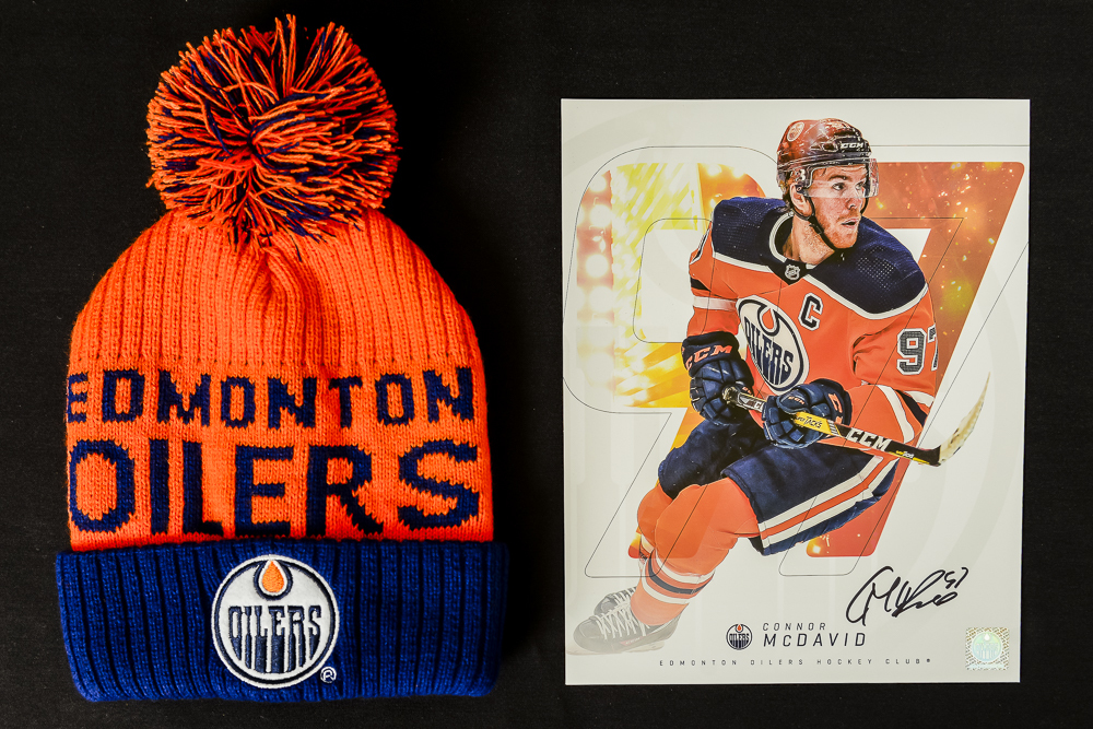 Connor McDavid #97 - Autographed Edmonton Oilers Player Card And Ltd Edition Oilers Toque