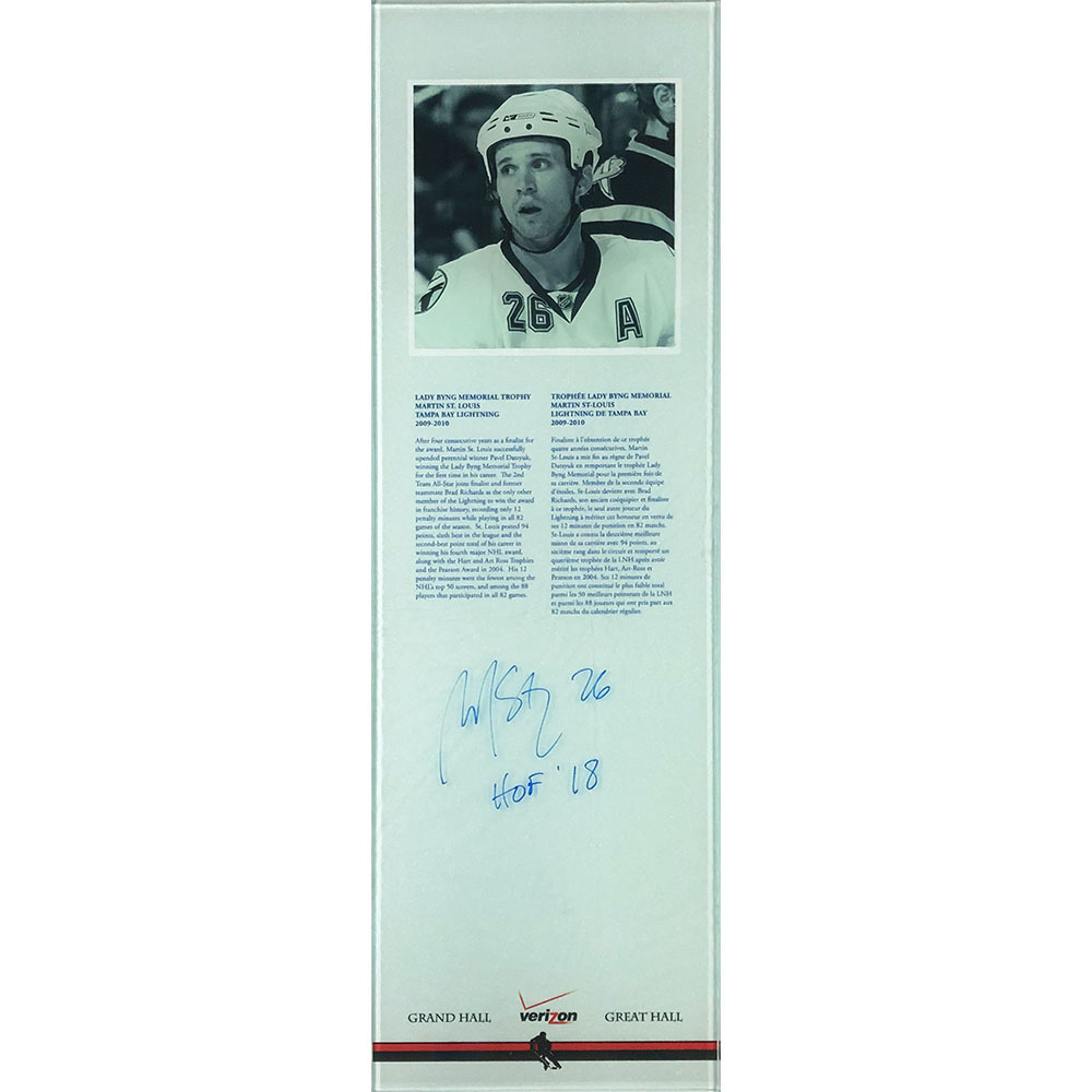 Martin St. Louis Autographed 2009-10 Lady Byng Award Plexiglass Plaque - Once on Display in the HOF's Great Hall