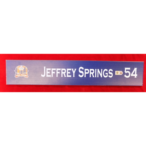 Photo of Final Season Game-Used Locker Tag - Jeffrey Springs - 9/28/19