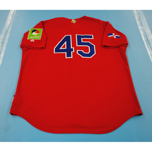 Photo of 2017 World Baseball Classic: Dominican Republic Batting Practice Jersey #45 - Enny Romero - Size Xl