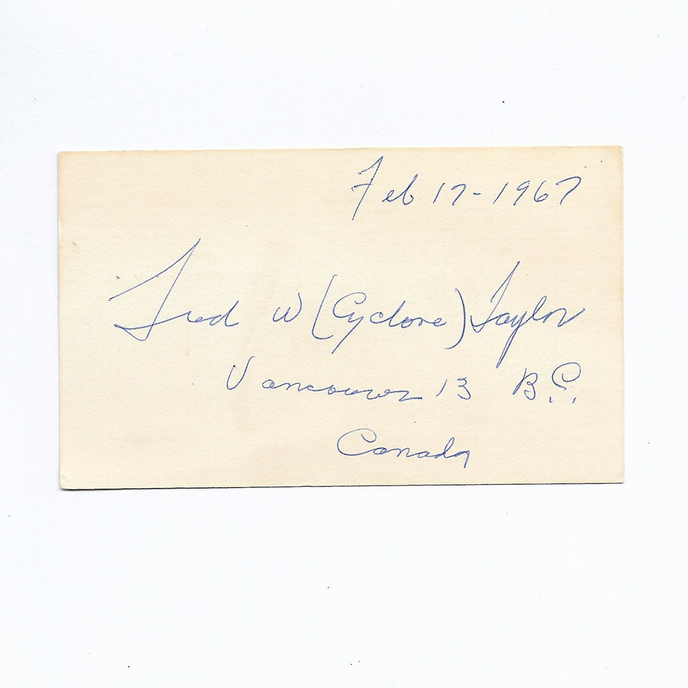 Cyclone Taylor Autograph Cut - Dated Feb 17-1967, Vancouver BC