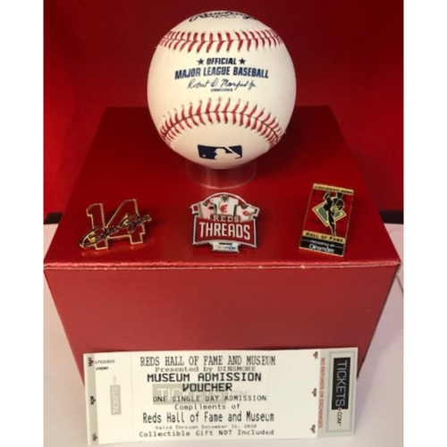 Photo of $50 Mystery Box with Autographed Baseball, Lapel Pin, and Ticket to the Reds Hall of Fame and Museum
