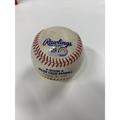 Photo of Game-Used Baseball - James Karinchak strikes out Mike Ford - Yankees at Indians - 4/25/2021