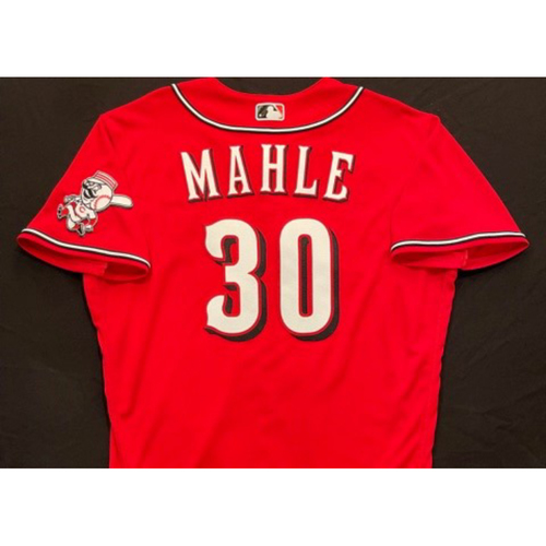 Photo of Tyler Mahle -- 2021 Los Rojos Jersey -- Game Used from Sept 24 -- Size: 46