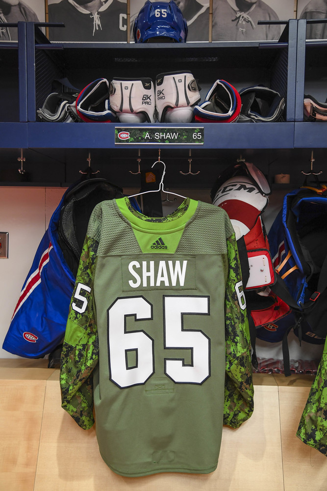 innovative design 37142 76811 65 Andrew Shaw Warm-Up Worn and Autographed Military Jersey ...