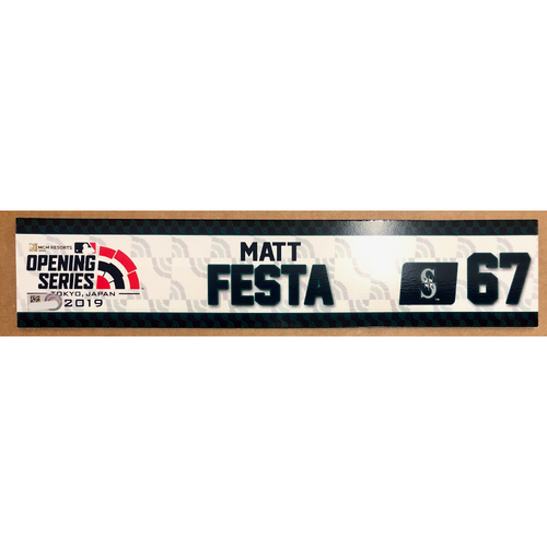 Photo of 2019 Japan Opening Day Series - Game Used Locker Tag - Matthew Festa -  Seattle Mariners
