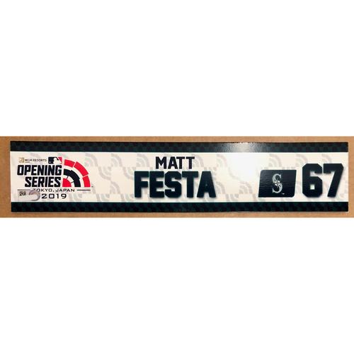 Photo of 2019 Japan Opening Day Series - Game Used Locker Tag - Matthew Festa -  Seattle Mariners