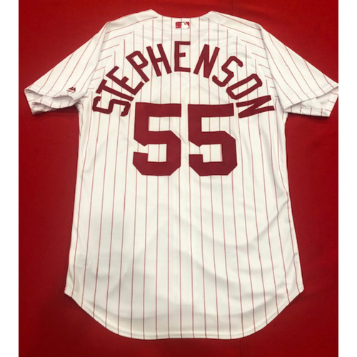 Photo of Robert Stephenson -- 1967 Throwback Jersey -- Game-Used for Rockies vs. Reds on July 28, 2019 -- Jersey Size: 46