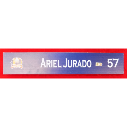 Photo of Final Season Game-Used Locker Tag - Ariel Jurado - 9/28/19