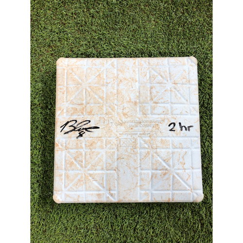 Photo of Game-Used 1st Base: 2020 World Series - Tampa Bay Rays vs. Los Angeles Dodgers - Game 2: Innings 1-6 - Autographed by Brandon Lowe with '2 hr' Inscription