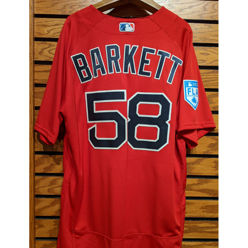 Photo of Coach Andy Barkett #58 Team Issued 2019 Spring Training Red Jersey