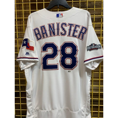 Photo of Jeff Banister Team-Issued White Jersey with 2016 Post-Season Patch