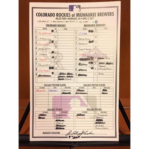 Photo of Colorado Rockies Game-Used Line-Up Card: Nolan Arenado Robs Ryan Braun - 4/4/17