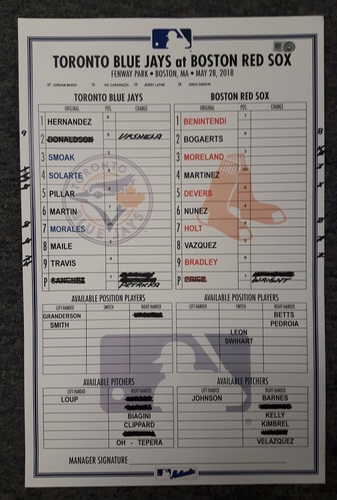 Photo of Authenticated Game Used Lineup Card - May 28, 2018 vs Boston Red Sox: Memorial Day 2018; Andrew Benintendi was a Double shy of the Cycle