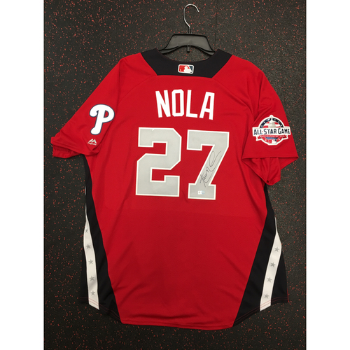 Photo of Aaron Nola 2018 Major League Baseball Workout Day Autographed Jersey