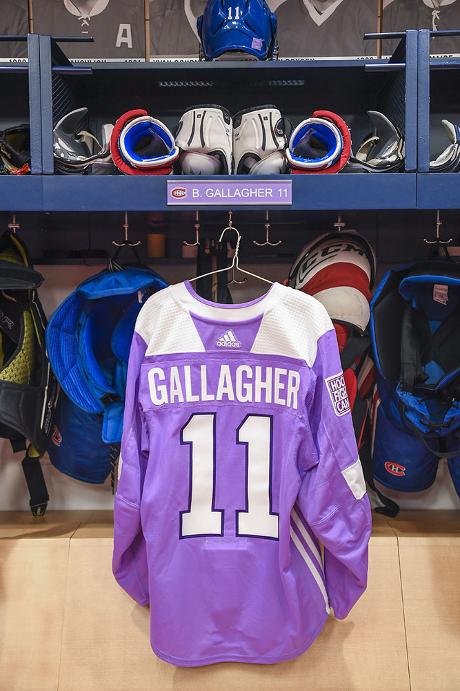 #11 Brendan Gallagher Warm-Up Worn and Autographed Hockey Fights Cancer Jersey