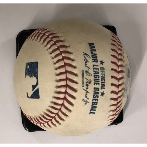 Photo of Ender Inciarte Game-Used Hit Single Baseball - 9/22/18 - Braves Clinch NL East Division Title