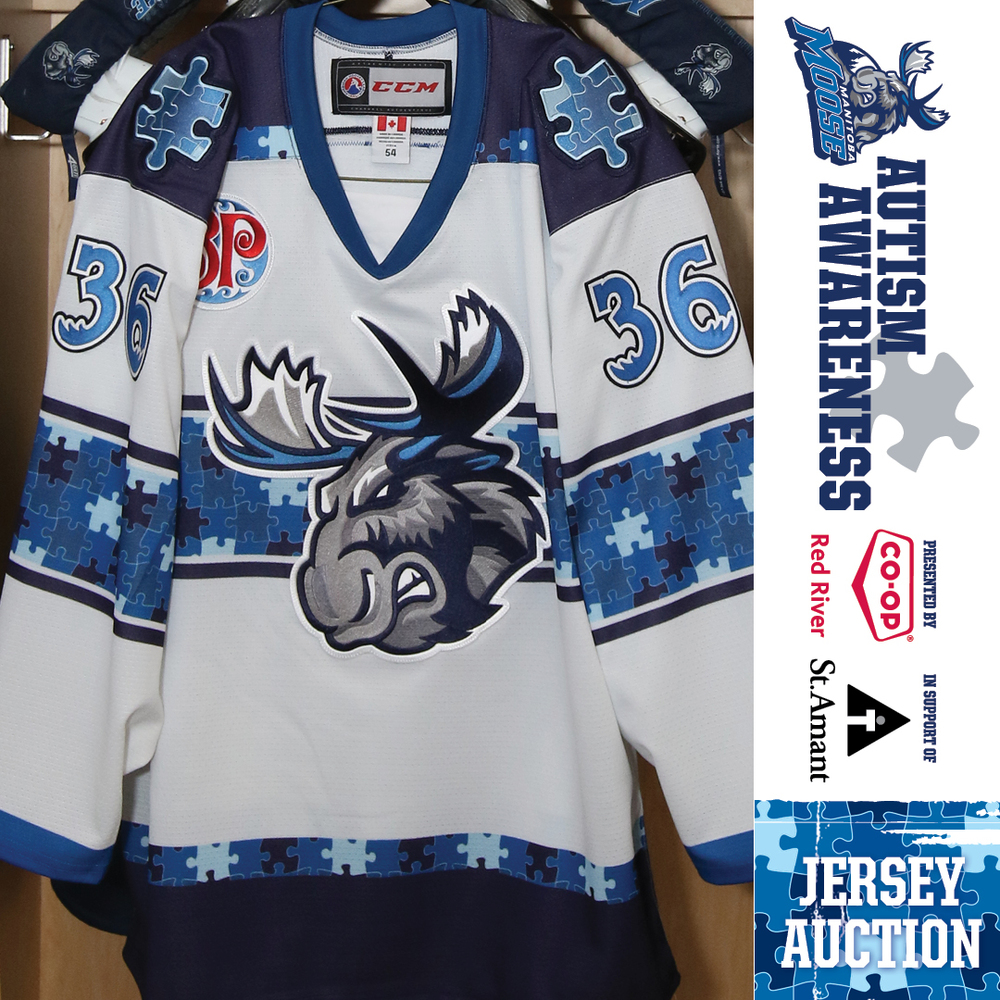 NELSON NOGIER Manitoba Moose Game Worn Autism Awareness Jersey