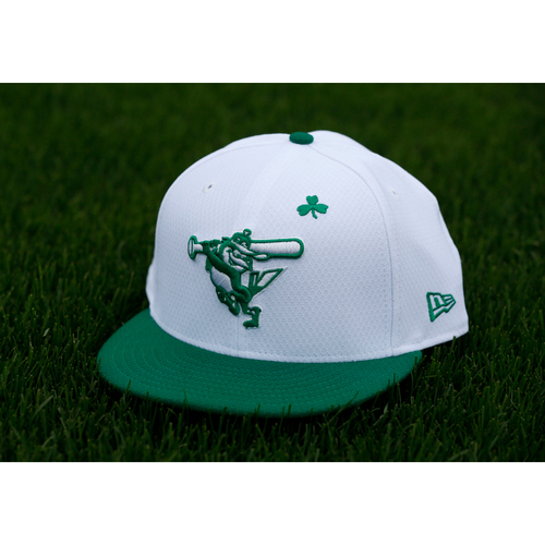 "Photo of John Means Autographed & (Team-Issued or Game-Worn) ""Go Green"" St. Patrick's Day Cap"