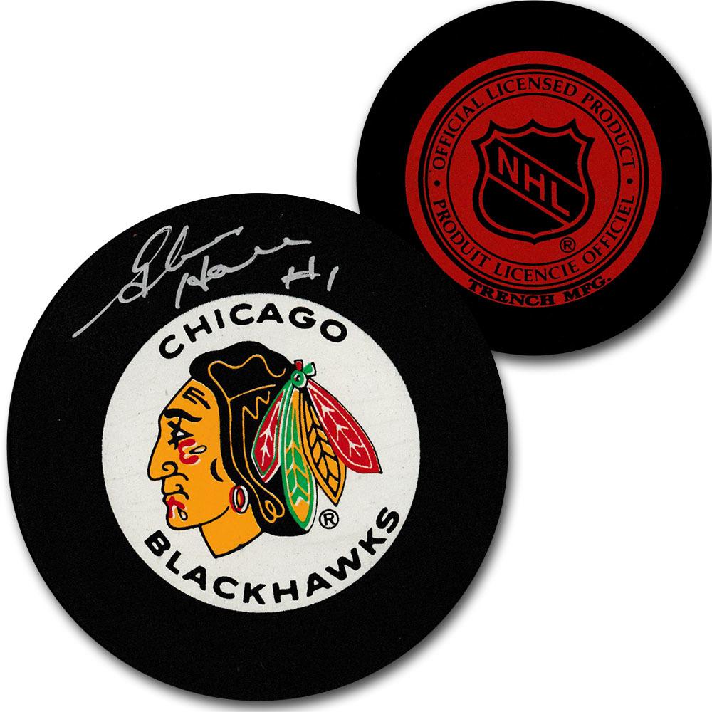Glenn Hall Autographed Chicago Blackhawks Vintage Trench Puck