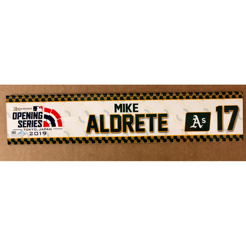 2019 Japan Opening Day Series - Game Used Locker Tag - Mike Aldrete -  Oakland Athletics